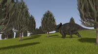 Triceratops Walking across a Grassy Field 2 Fine Art Print