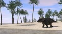 Triceratops Walking along the Shoreline 3 Fine Art Print