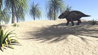 Triceratops Walking in a Tropical Environment 1 Fine Art Print