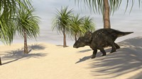 Triceratops Walking in a Tropical Environment 2 Fine Art Print