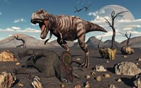 A T Rex is about to make a Meal of a Dead Triceratops by Mark Stevenson - various sizes