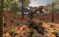 A T-Rex comes across the Carcass of a Dead Triceratops by Mark Stevenson - various sizes