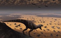 A lone T Rex looks down on a large Herd of Triceratops by Mark Stevenson - various sizes