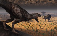 A Tyrannosaurus Rex spots two Passing Triceratops by Mark Stevenson - various sizes - $30.49
