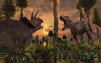 T- Rex and Triceratops meet for a Battle 1 Fine Art Print