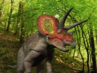 A Colorful Triceratops Wanders a Cretaceous Forest Fine Art Print