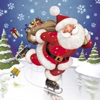 Santa's Skating This Christmas Fine Art Print