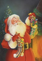 Santa Hanging The Stockings Fine Art Print