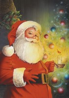 Santa By The Tree Fine Art Print