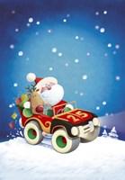 Santa Takes The Car Fine Art Print