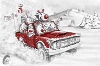 Reindeer And All In The Red Truck by DBK-Art Licensing - various sizes