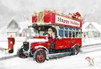 Santa's Happy Holiday Bus Fine Art Print
