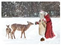 Santa Greets The Deer Fine Art Print