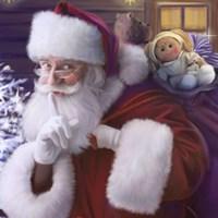 Shhh Santa's Doll And Bear Fine Art Print