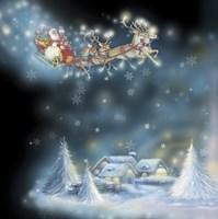 Santa's Starry Snowflake Ride Fine Art Print