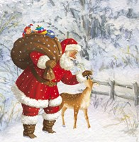 Santa And The Fawn by DBK-Art Licensing - various sizes