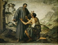 Brother Junipero and the Beggar Fine Art Print
