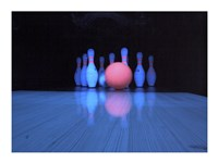 Bowling ball with bowling pins Fine Art Print
