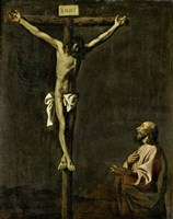 Saint Luke as a Painter Before Christ on the Cross (self-portrait of Francisco de Zurbaran) Fine Art Print