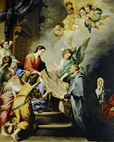 The Descent of Virgin Mary to Reward the Writing of Saint Ildefonso of Toledo Fine Art Print