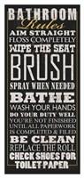 "Bathroom Rules (Black) by Jim Baldwin - 20"" x 42"""