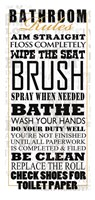 Bathroom Rules (Black on White) Framed Print