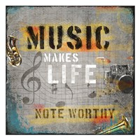 "Music Makes Life by Jim Baldwin - 26"" x 26"" - $29.99"
