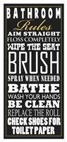 Bathroom Rules (Black) Framed Print