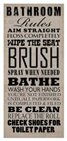 Bathroom Rules (Black on Beige) Framed Print