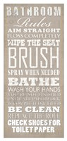 Bathroom Rules (White on Beige) Framed Print