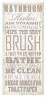 Bathroom Rules (Beige on White) Framed Print