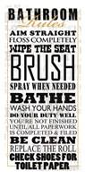 "Bathroom Rules (Black on White) by Jim Baldwin - 20"" x 42"" - $37.49"