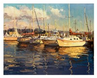 Boats on Glassy Harbor Fine Art Print