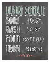 Laundry Schedule Framed Print