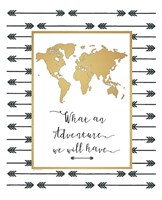Faux Gold Map Framed Print