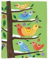 Six Christmas Birds Fine Art Print