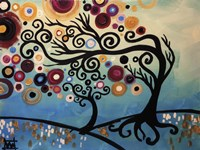 Tree Whimsy On Blue Fine Art Print