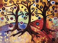 Tree Whimsy Of Three Fine Art Print