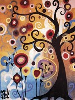 Tree Whimsy And Flowers Fine Art Print