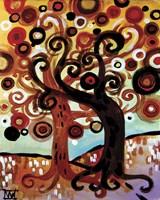 Swirling Trees On Sky Blue by Natasha Wescoat - various sizes