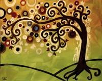Black And Cream Tree Swirl Fine Art Print