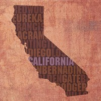 California State Words by David Bowman - various sizes