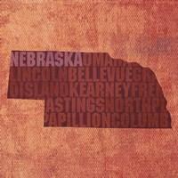 Nebraska State Words Fine Art Print