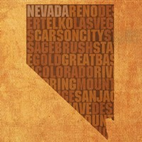 Nevada State Words Fine Art Print