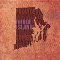 Rhode Island State Words by David Bowman - various sizes