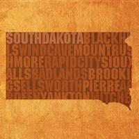 South Dakota State Words Fine Art Print