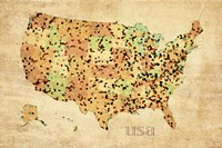 Usa Crystallized County Map by David Bowman - various sizes