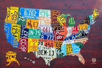 License Plate Map USA IV Framed Print