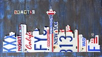 Seattle Skyline License Plate Art Fine Art Print