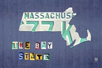 Massachusetts License Plate Map by Design Turnpike - various sizes